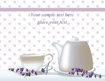 Feuille de présence sensible de thé de vecteur bannières d'herbes avec la lavande Concevez pour la tisane, cosmétiques naturels,  Photos stock