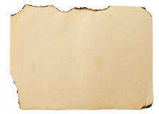 Feuille de vieux papier brûlé Image stock