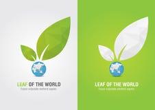 Feuille du monde Icône de volontaire d'Eco Pour le soluti vert d'affaires Image libre de droits