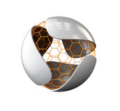 Feuille grise abstraite avec le logo nano de sphère d'isolement sur le blanc, illustration 3d Photo stock