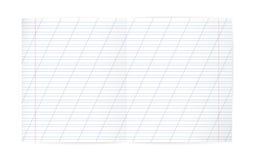 Feuille interligne de carnet (avec les lignes diagonales et la marge rouge) Photographie stock