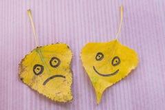 Feuille jaune avec une photo d'un joyeux et triste visage image stock