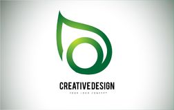 Feuille Logo Letter Design d'O avec le contour vert de feuille illustration stock