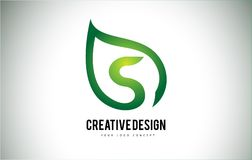 Feuille Logo Letter Design de S avec le contour vert de feuille illustration stock
