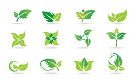 Feuille, logo, usine, écologie, les gens, bien-être, vert, feuilles, ensemble d'icône de symbole de nature d'ensemble d'icône de  illustration stock