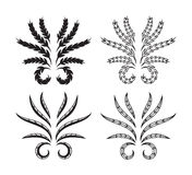 Feuille Logo Vector, silhouette et ligne style Images libres de droits