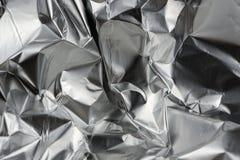 Feuille métallique en aluminium chiffonnée Images libres de droits