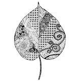 Feuille monochrome de griffonnage de forme de coeur pour livre de coloriage Photos libres de droits