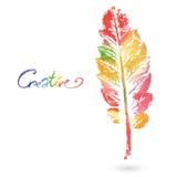 Feuille naturelle d'aquarelle faite dans la technique originale Logo d'Eco, travail créatif Objet d'isolement Photo libre de droits