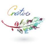 Feuille naturelle d'aquarelle Logo d'Eco, travail créatif Objet d'isolement sur un fond blanc Photo libre de droits