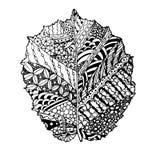 Feuille noisette de griffonnage monochrome pour livre de coloriage, antistress Images libres de droits