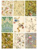 Feuille ou étiquettes florale de collage de cru Photos libres de droits