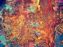 Feuille peinte par fer avec de la rouille Photographie stock