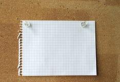 Feuille vide sur un corkboard Images libres de droits