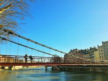 Feuillee bridge of the city of Lyon, France Royalty Free Stock Photos