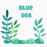 Feuilles, algues et pierres bleues sur un fond blanc illustration de vecteur