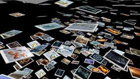 Feuilles animées d'image de photo tombant vers le bas rendu 3d 4K banque de vidéos