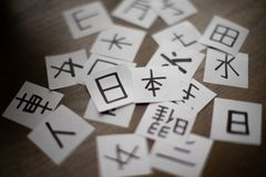 Feuilles avec beaucoup de kanji de caractères de langue chinoise et japonaise avec le mot principal Japon image stock
