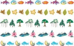 5 feuilles d'arbres de poissons de frontières de nature Photos stock