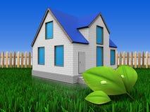 feuilles 3d au-dessus de pelouse et de barrière Image stock