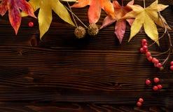 Feuilles d'automne au-dessus de fond en bois avec l'espace publicitaire Photo libre de droits