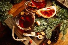 Feuilles d'automne confortables de chauffage d'écharpe de boissons de citron de thé chaud de miel Image libre de droits