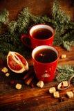 Feuilles d'automne confortables de chauffage d'écharpe de boissons de citron de thé chaud de miel Photos libres de droits