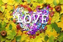 Feuilles d'automne dans la forme du coeur sur la table en bois Images stock