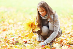Feuilles d'automne de sélection de femme Photographie stock
