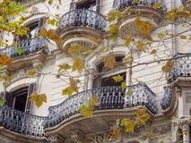 Feuilles d'automne et façade moderniste - Barcelone photos stock