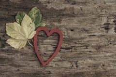 Feuilles d'automne sèches et coeur rouge sur le fond en bois Photo stock