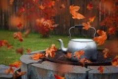 Feuilles d'automne soufflant autour d'une bouilloire sur le gril d'un puits du feu photo stock
