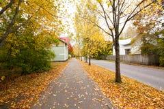 Feuilles d'automne sur le passage couvert dans le vieux secteur de musée de Kouvola, Finlande Photo libre de droits