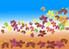 Feuilles d'automne volant dans le vent, fond Image stock