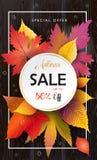 Feuilles d'Autumn Sale Fall, texture en bois Image stock