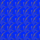 Feuilles d'or de papier peint sur un fond bleu illustration stock