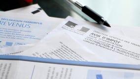 Feuilles d'impôt françaises Image libre de droits