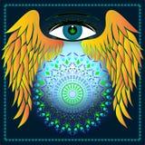 Feuilles d'oeil, d'ailes, de marijuana et mandala Photos stock