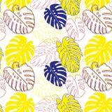 Feuilles d'usine de Monstera, modèle floral décoration Nature de jungle Copie moderne à la mode de hippie de mode pour le T-shirt illustration de vecteur