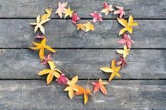 Feuilles de coeur sur une table en automne Image stock