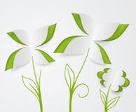 Feuilles de fleur et de vert de papier Photo stock