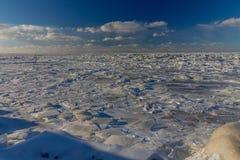 Feuilles de glace congelées, le lac Érié Ohio photos stock
