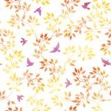 Feuilles de jaune, oiseaux mignons Modèle sans couture d'automne d'aquarelle de vintage dans la conception naïve Image libre de droits