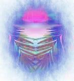 Feuilles de palmier sur le fond d'aquarelle Image libre de droits