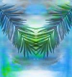 Feuilles de palmier sur le fond d'aquarelle Photographie stock libre de droits