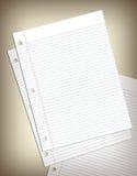 Feuilles de papier de cahier Photographie stock