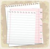 Feuilles de papier, papier rayé et papier de note Photos libres de droits