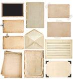 Feuilles de papier utilisées réglées Les pages de livre de vintage, cadres de photo, enveloppent photo stock