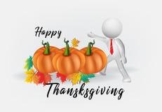feuilles de potiron et d'automne de thanksgiving de l'homme 3D blanc illustration stock