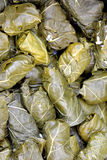 Feuilles de raisin bourré avec du riz, dolmadakia Image stock